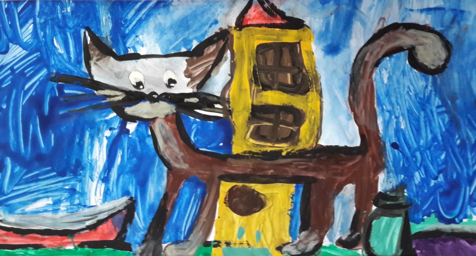 Kot malowany dziecięcą ręką
