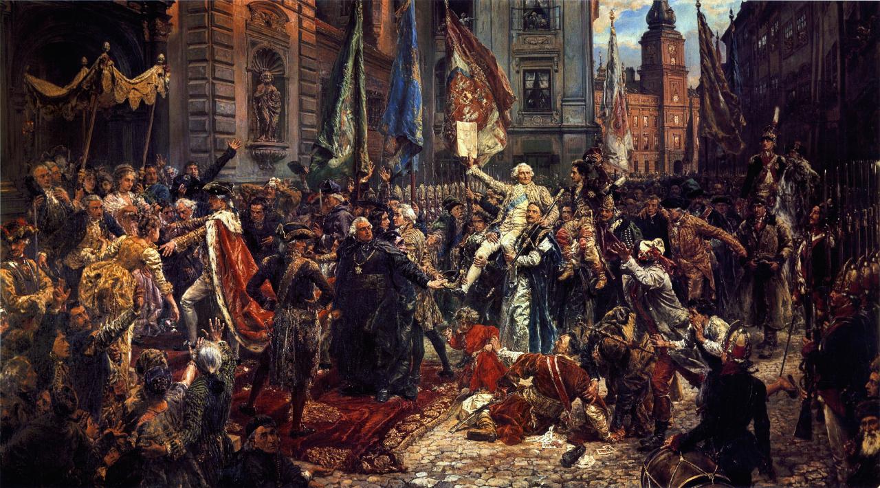 duży obraz olejny, tłum ludzi podczas uchwalenia Konstytucji