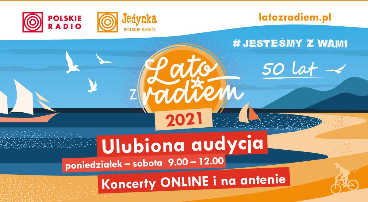 banner o treści: Polskie Radio, Jedynka Polskie Radio (dwa logo), adres strony latozradiem.p, wakacyjna grafika