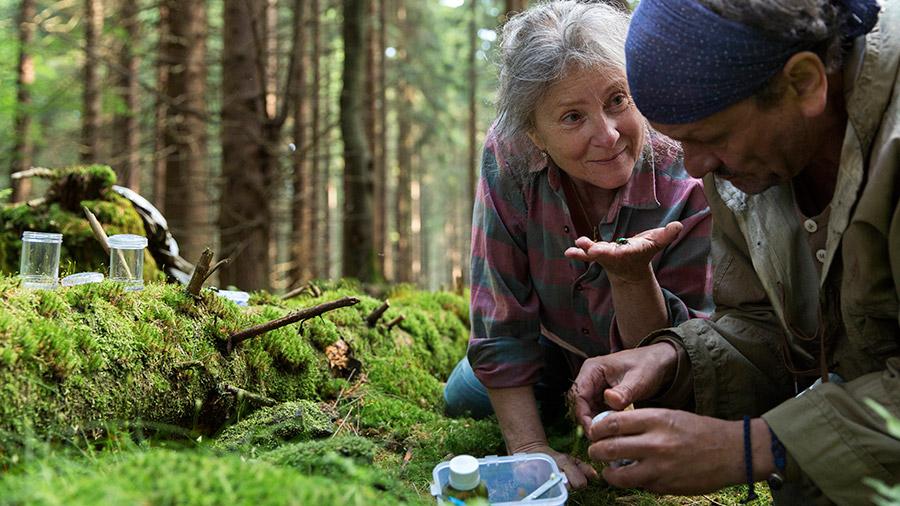 mężczyzna i kobieta leżą na mchu w lesie